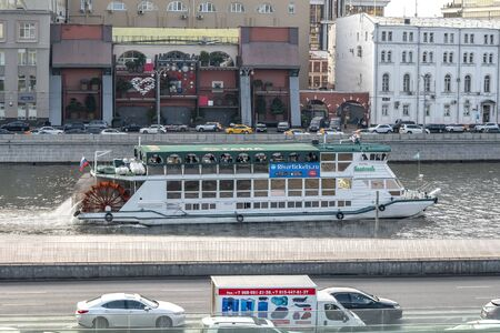 MOSCOW, RUSSIA - October 03.2019: Modern wheeled motor ship on the Moscow River