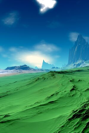 Fantasy alien planet. Mountain. 3D illustration 写真素材