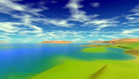 Fantasy alien planet. Mountain and lake. 3D illustration 写真素材