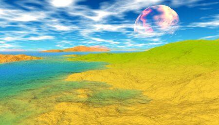 Fantasy alien planet. Mountain and lake. 3D illustration 版權商用圖片