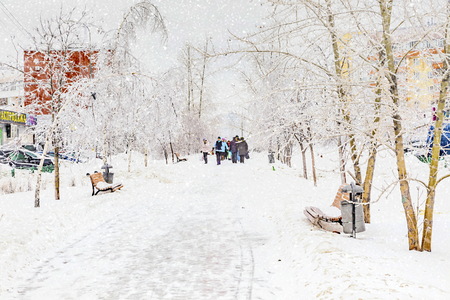 MOSCOW, RUSSIA - December 26.2011: The outskirts of the city, Novokosino district. Snowfall on the boulevard Редакционное