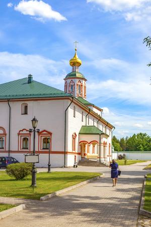 Orthodox Valdai Iveron Bogoroditsky Holy Lake Monastery on Selvitsky island of Lake Valdai
