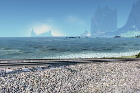 Collage. Railwayon the background of mountains and a lake on an unfamiliar planet