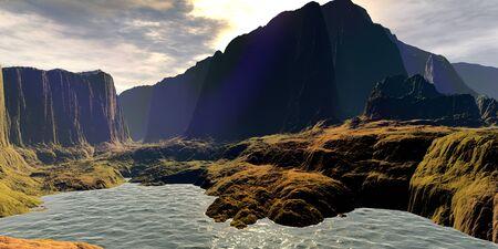 Fantasy alien planet. Mountain and lake. 3D illustration 版權商用圖片 - 133143642