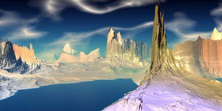 Fantasy alien planet. Mountain and lake. 3D illustration 版權商用圖片 - 133360170