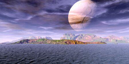 Fantasy alien planet. Mountain and lake. 3D illustration 스톡 콘텐츠