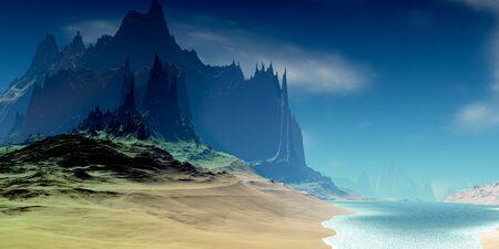 Fantasy alien planet. Mountain and lake. 3D illustration 版權商用圖片 - 133145623