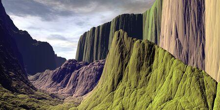 Fantasy alien planet. Mountain. 3D illustration 스톡 콘텐츠