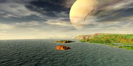 Fantasy alien planet. Mountain and lake. 3D illustration 版權商用圖片 - 133146370