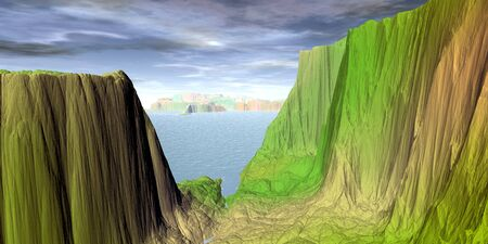 Fantasy alien planet. Mountain and lake. 3D illustration 版權商用圖片 - 133146417