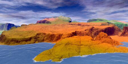 Fantasy alien planet. Mountain and lake. 3D illustration 版權商用圖片 - 133360173