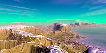 Fantasy alien planet. Mountain and lake. 3D illustration 版權商用圖片 - 133360174