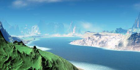 Fantasy alien planet. Mountain and lake. 3D illustration 版權商用圖片 - 133156814