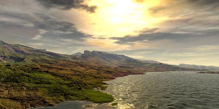 Fantasy alien planet. Mountain and lake. 3D illustration 版權商用圖片 - 133157651