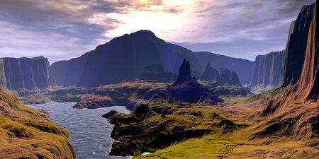 Fantasy alien planet. Mountain and lake. 3D illustration 版權商用圖片 - 133158144