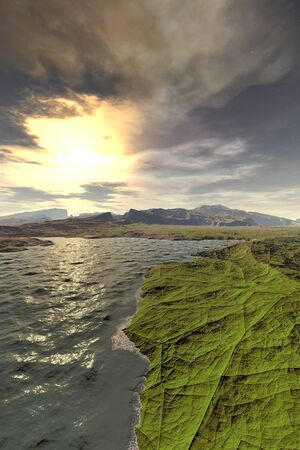 Fantasy alien planet. Mountain and lake. 3D illustration Banco de Imagens