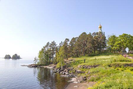 The Church of St. Nicholas on Nikolsky Island Valaamsky archipelago Stock Photo