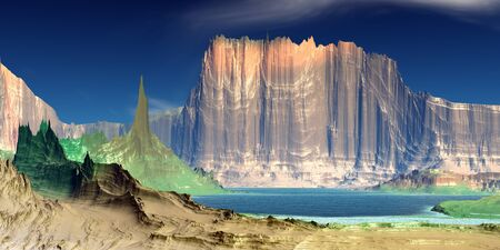 Fantasy alien planet. Mountain and lake. 3D illustration 版權商用圖片 - 133844634