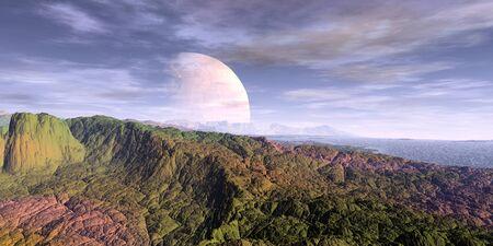 Fantasy alien planet. Mountain and lake. 3D illustration 版權商用圖片 - 133844632