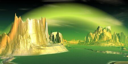 Fantasy alien planet. Mountain and lake. 3D illustration 版權商用圖片 - 133844638