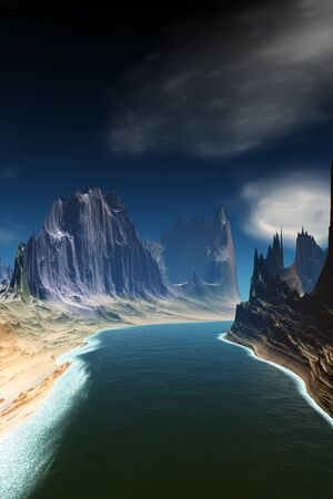 Fantasy alien planet. Mountain and lake. 3D illustration 版權商用圖片 - 133844693