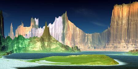 Fantasy alien planet. Mountain and lake. 3D illustration 版權商用圖片 - 133844703