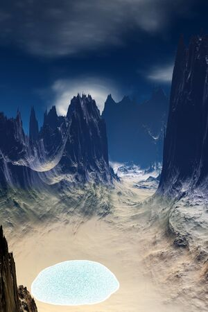 Fantasy alien planet. Mountain and lake. 3D illustration 版權商用圖片 - 133844713