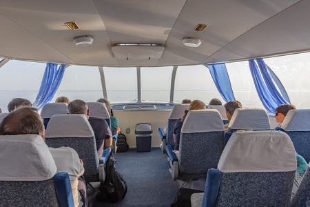 LAKE LADOGA, RUSSIA - June 06.2019: Passengers in the cabin of a high-speed ship Meteor Redactioneel