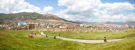 SUDAK, CRIMEA, UKRAINE - May 06.2009: Panorama of a well-preserved ancient fortress on top of a mountain in the city of Sudak 에디토리얼