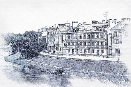 Graphics. Picture of photo, imitation of painting. Soviet Embankment on the Pskova River near the Kremlin