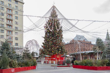 RUSSIA, MOSCOW - December 30.2019: Artificial fairytale forest of trees and Christmas trees on Manezhnaya Square in the city center