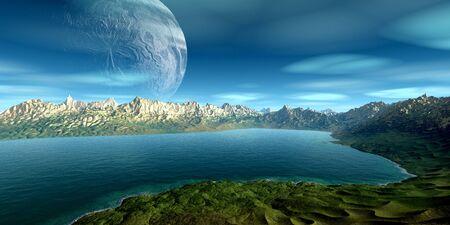Fantasy alien planet. Mountain and lake. 3D illustration Stockfoto