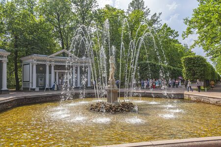 PETERHOF, RUSSIA - June 07.06: The territory of the Nizhniy Park. Adam Fountain Editöryel