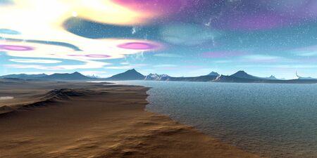 Fantasy alien planet. Mountain and lake. 3D illustration Banco de Imagens