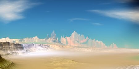 Fantasy alien planet. Mountain. 3D illustration Banco de Imagens