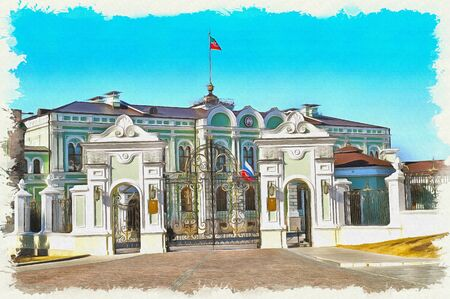 Entrance to the Presidential Palace of the Republic of Tatarstan on territory in the Kazan Kremlin. Oil paint on canvas. Picture with photo, imitation of painting. Illustration