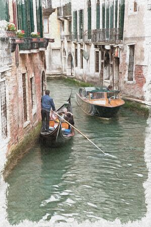 Channels in city Venice and swimming on them boats. Italy. Oil paint on canvas. Picture with photo, imitation of painting. Illustration Stock fotó