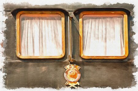 Black wooden with the coat of arms of country side of railway carriage. Oil paint on canvas. Picture with photo, imitation of painting. Illustration