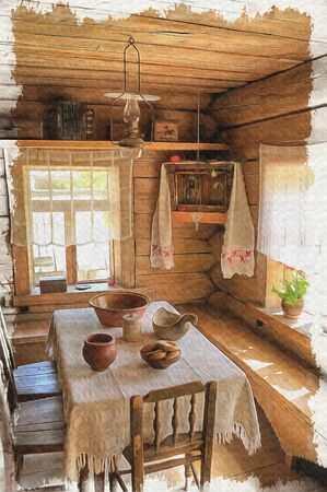 Room in village house. Oil paint on canvas. Picture with photo, imitation of painting. Illustration