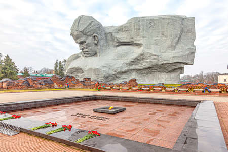 Brest, Republic of Belarus - March 10.2020: Citadel. Courage Monument in the Brest Fortress memorial complex. The inscription next to the Eternal Flame - They stood to death, Glory to the heroes Editorial