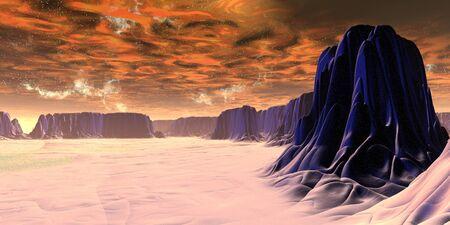 Fantasy alien planet. Mountain. 3D illustration Foto de archivo