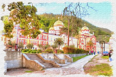 Oil paint on canvas. Picture with photo, imitation of painting. Illustration. Complex of buildings of the ancient Christian monastery on Mount Athos