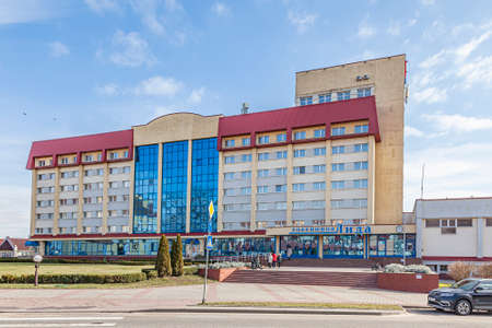 LIDA, REPUBLIC OF BELARUS - March 12.2020: Modern city hotel Lida in the historic city center