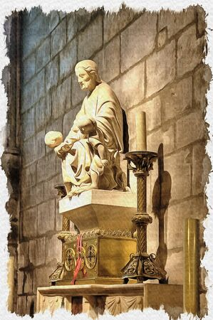 Oil paint on canvas. Picture with photo, imitation of painting. Illustration. Ancient statue of saint inside the Notre Dame