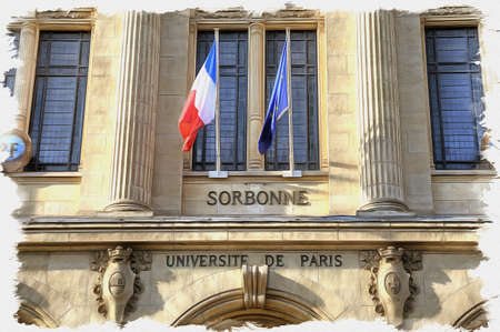 Oil paint on canvas. Picture with photo, imitation of painting. Illustration. Facade of the University of Sorbonne with the flags of France and European Union