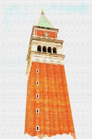 Oil paint on canvas. Picture with photo, imitation of painting. Illustration. High ancient bell tower of basilica of Saint Mark with a lookout at the top. City Venice
