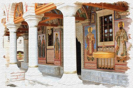 Oil paint on canvas. Picture with photo, imitation of painting. Illustration. Entrance to the Monastery of St. Varlaam on the top of a cliff in the monastery complex of Meteora
