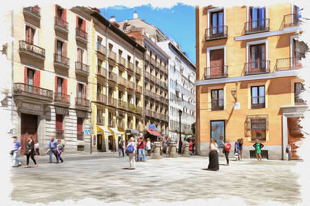 Picture from a photo. Oil paint. Imitation. Illustration. Streets in central part of city. Spain. Madrid