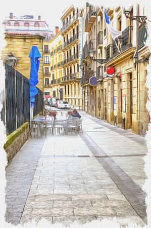 Picture from a photo. Oil paint. Imitation. Illustration. Streets, squares and avenues of the cultural capital of Europe. Spain. San Sebastian