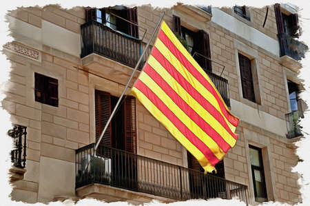 Picture from a photo. Oil paint. Imitation. Illustration. Spain. Catalonia. Flag on the facade of building in city Barcelona 写真素材